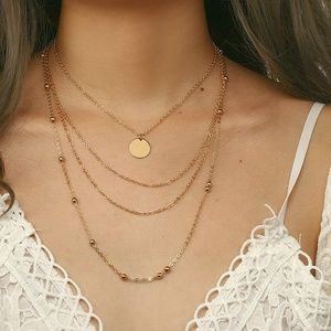 4/$25 Multilayer Beads & Coin Necklace